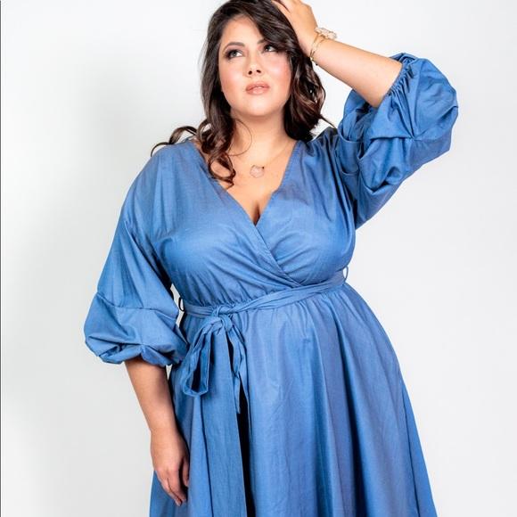 Plus Size 'Sunday' Denim Chambray Dress Boutique